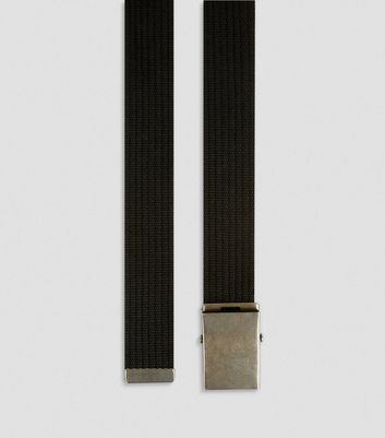 Black Webbing Textured Belt New Look