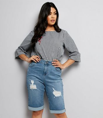 Curves Blue Ripped Denim Shorts New Look