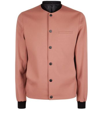 Deep Pink Popper Front Tailored Bomber Jacket New Look