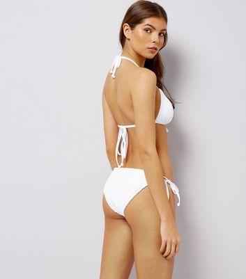 White Crochet Lace Tie Side Bikini Bottoms New Look