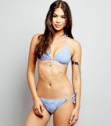 Pale Blue Crochet Lace Tie Side Bikini Bottoms New Look