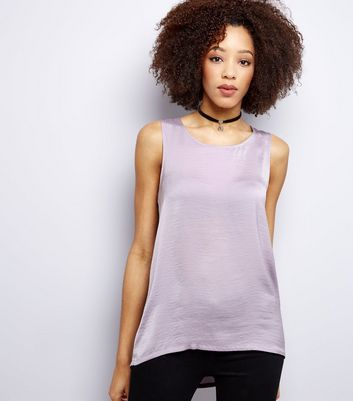 Lilac Sateen Vest New Look