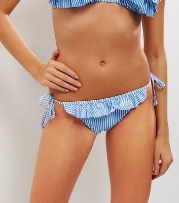 Blue Stripe Frill Trim Tie Side Bikini Bottoms New Look