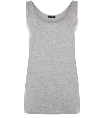 Tall Grey Scoop Neck Vest New Look