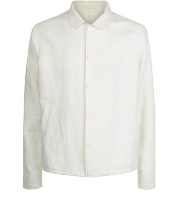Off White Crepe Linen Tailored Coach Jacket New Look