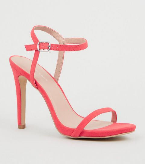 ed2ab0f9bb8 ... Bright Pink Suedette Ankle Strap Heeled Sandals ...