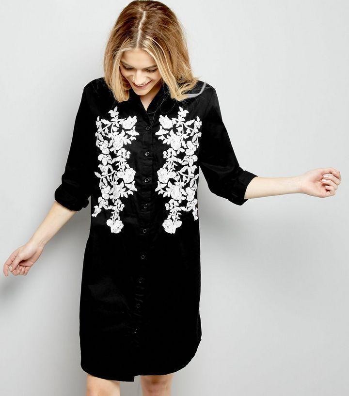b038a5fbc0 Black Floral Embroiderd Long Sleeve Shirt Dress | New Look