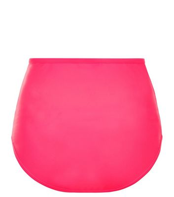 Bright Pink Mesh Trim High Waist Bikini Bottoms New Look
