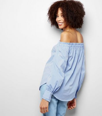 Blue Frill Edge Bardot Top New Look