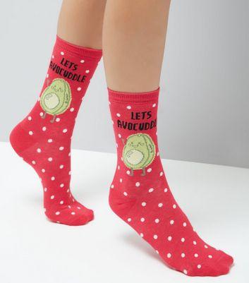 Pink Lets Avocuddle Spot Print Socks New Look