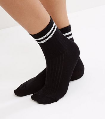 Black Ribbed Contrast Trim Socks New Look