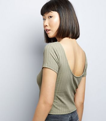 Olive Green Ribbed Short Sleeve Crop Top New Look