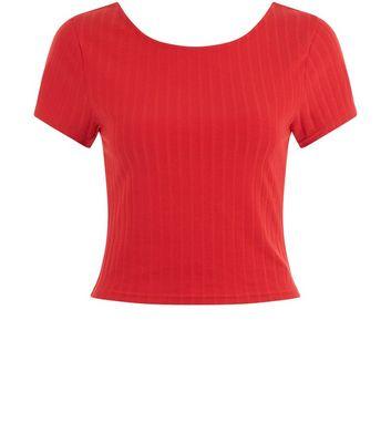 Red Ribbed Short Sleeve Scoop Back Crop Top New Look