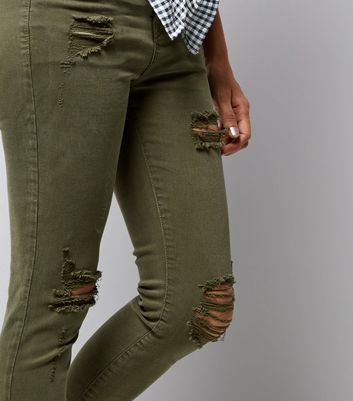 Petite Khaki Ripped Skinny Jenna Jeans Add to Saved Items Remove from Saved Items