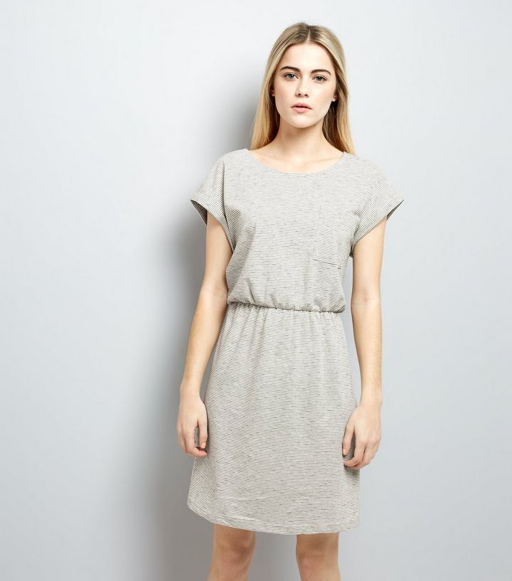 ad982fb08f7fc Light Grey Belted T-Shirt Dress | New Look