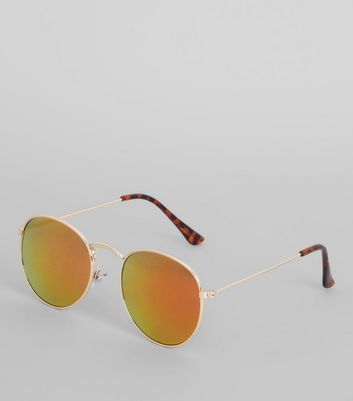 Gold Round Tinted Sunglasses New Look