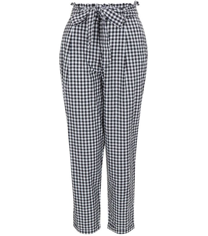 8d122a3c12c3ab ... Innocence Black Gingham Check Tie Waist Cropped Trousers. ×. ×. ×. Shop  the look