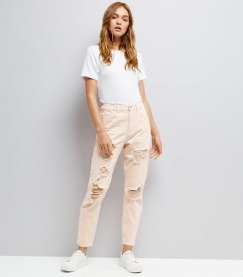 Shell Pink Ripped Tori Mom Jeans New Look