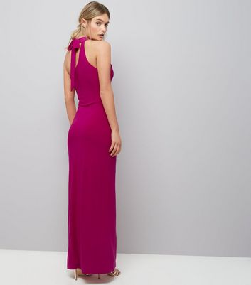 Pink Ring Trim Halter Neck Maxi Dress New Look