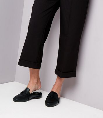 Black Faux Fur Lined Mules | New Look