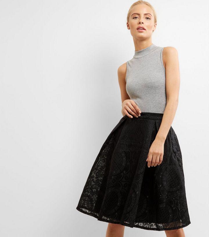 925ba6aac3 Blue Vanilla Black Lace Pattern Midi Skater Skirt