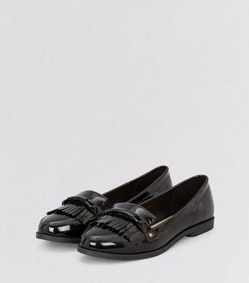 Black Patent Fringe Trim Loafers   New Look