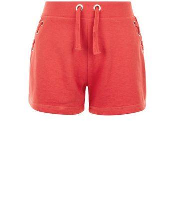 Teens Red Eyelet Trim Tie Side Shorts New Look