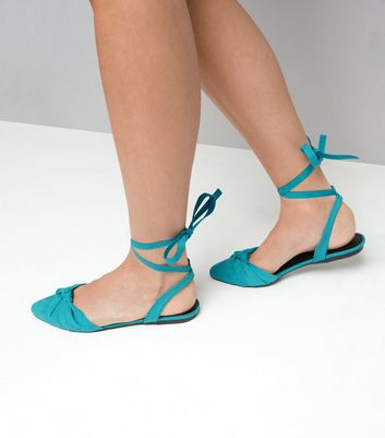 Turquoise Knot Front Tie Up Sandals New Look