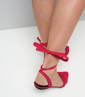 Pink Knot Front Tie Up Sandals New Look