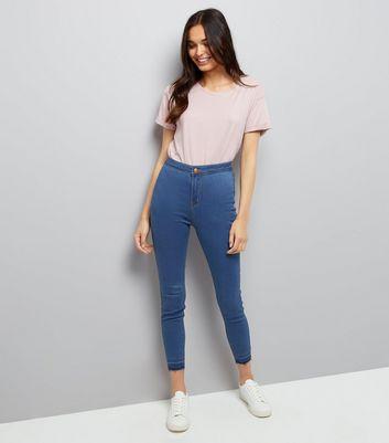 Blue High Waist Super Skinny Drop Hem Hallie Jeans New Look