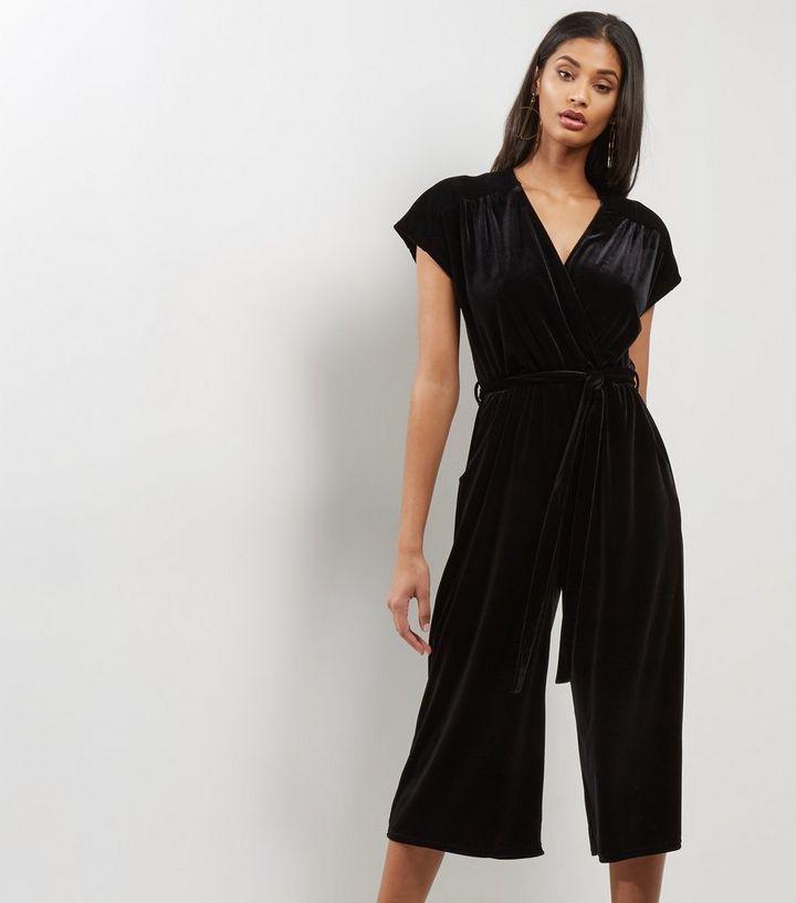 61667f2a81c Black Velvet V Neck Culotte Jumpsuit