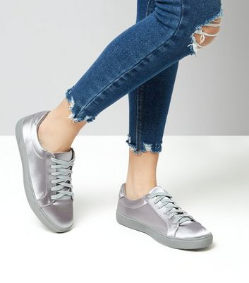 Grey Satin Lace Up Trainers New Look