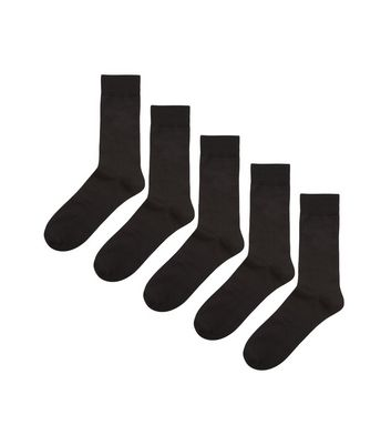 5 Pack Black Socks New Look