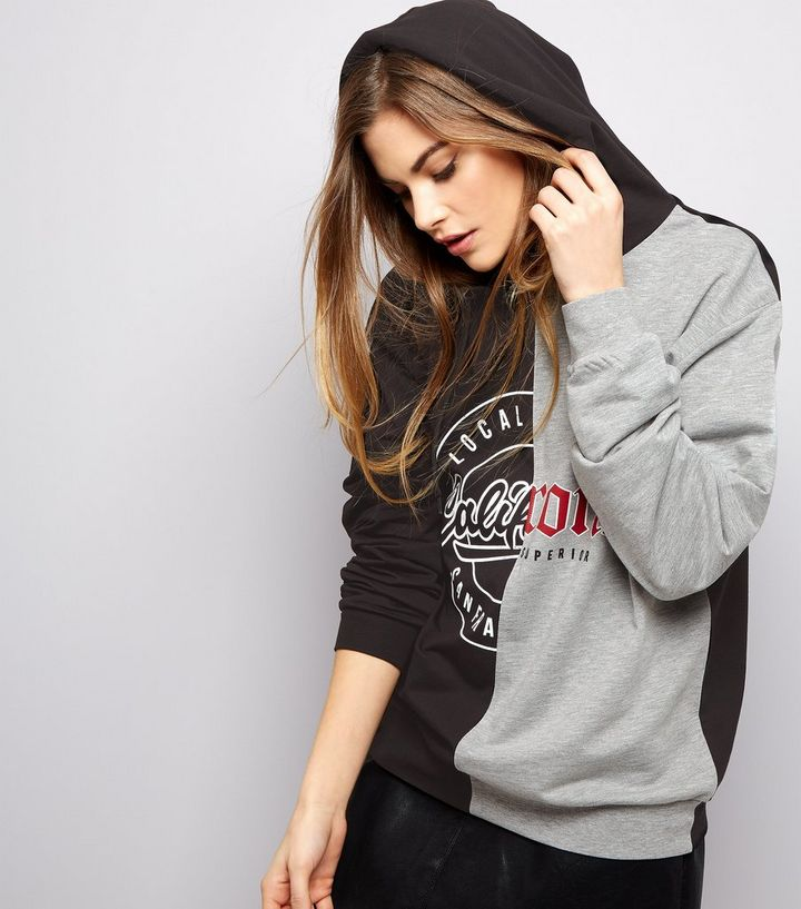 3af8d880d72 Grey California Bronx Print Spliced Hoodie Add to Saved Items Remove from  Saved Items