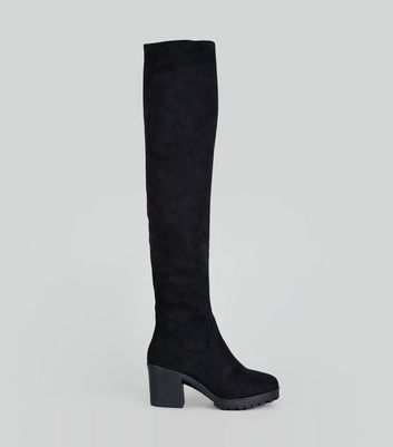 Black Suedette Over The Knee Chunky