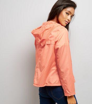 Orange Hooded Fold Away Anorak New Look