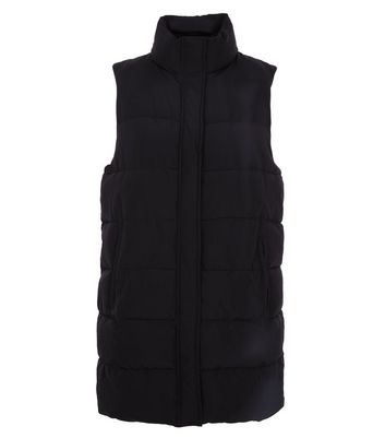 Black Midi Puffer Gilet New Look