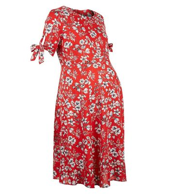Maternity Red Floral Tie Sleeve Dress New Look