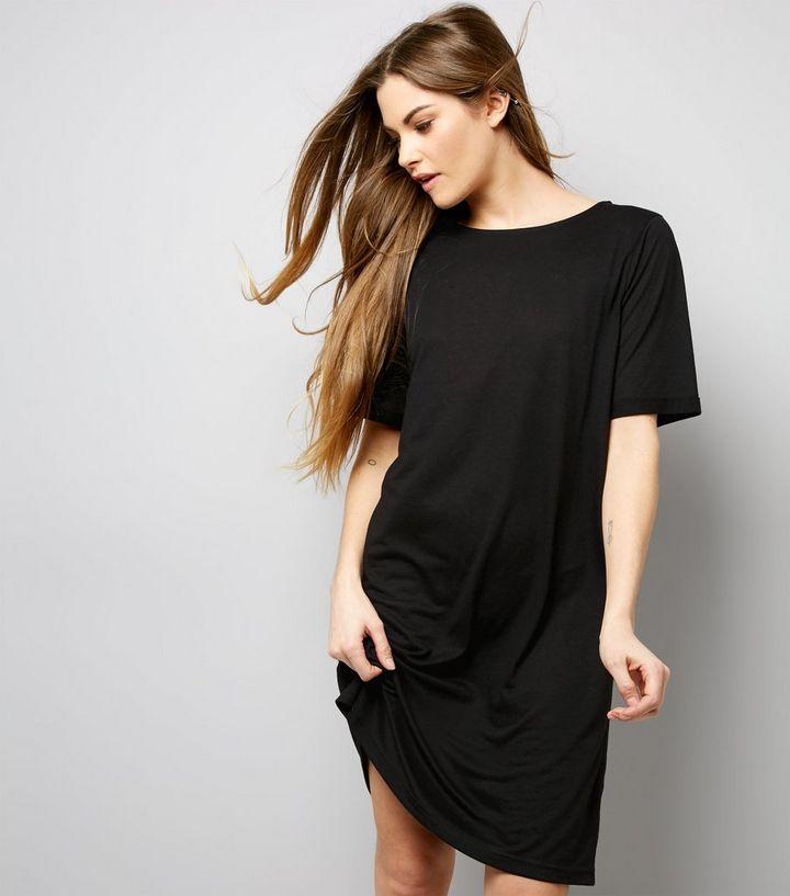 ca4a35704454 Black Jersey Basic Short Sleeve T-Shirt Dress