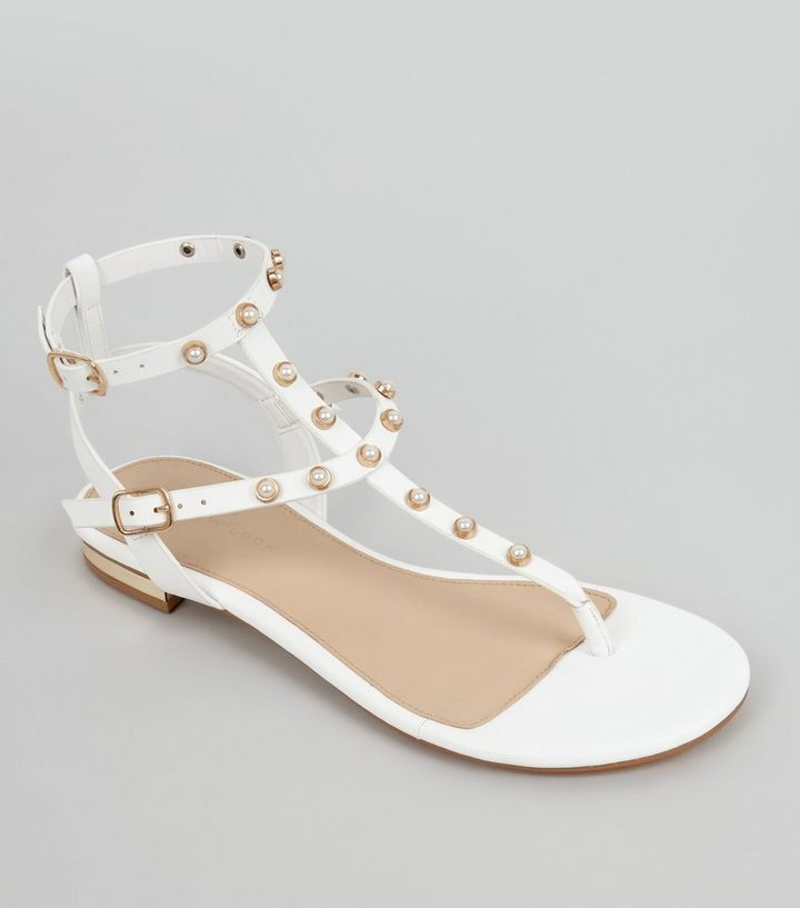 451ee9eff1ce White Pearl Stud Sandals
