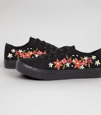 Teens Black Canvas Floral Embroidered Trainers New Look