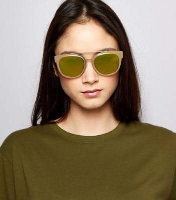 Brown Tinted Bar Front Sunglasses New Look