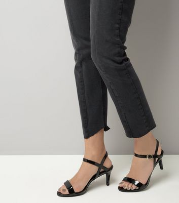 Black Patent Ankle Strap Sandals New Look