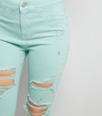 Mint Green High Waist Ripped Knee Skinny Hallie Jeans New Look