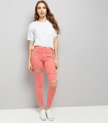 Coral Ripped Skinny Hallie Jeans New Look