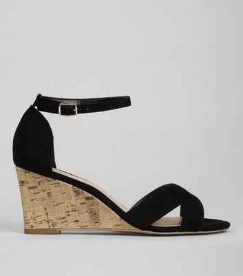 Black Suedette Cork Wedge Heels | New Look
