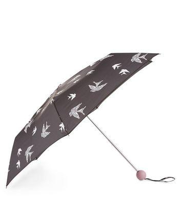 Black Lace Bird Print Umbrella New Look
