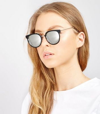 Black Double Bar Mirror Lens Sunglasses New Look
