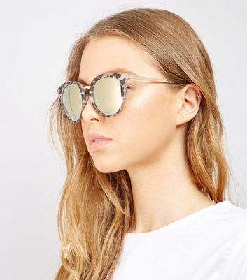 Brown Animal Print Mirrored Lens Sunglasses New Look