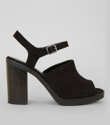Black Suedette Peep Toe Chunky Heels